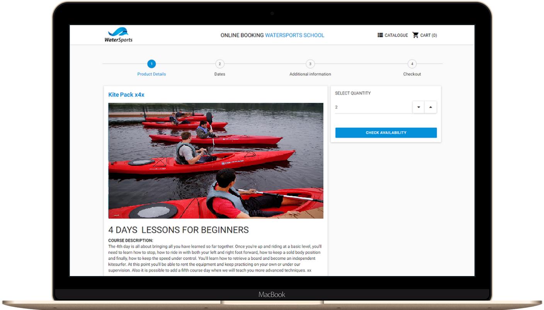 Online booking for kayak rafting canyoning